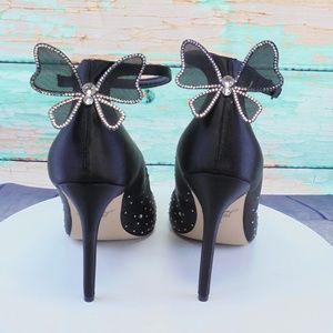 Badgley Mischka Shoes - Badgley Mischka  Black Satin With Rhinestones Shoe